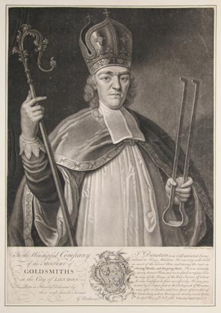 An old print of St. Dunstan holding tongs, which he used on the devil's nose.