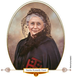 At the time of her husband and brother's death, Sarita Kenedy East and her sister-in-law were in charge of 400,000-acre ranch in La Parra, Texas. In 1952 she received the Ecclesia et Pontifice medal and membership in the Ladies of the Holy Sepulchre of Jerusalem from Pope Pius XII for her service to the Church. She was also named an honorary member of the Franciscans and the Oblates of Mary Immaculate. She bequeathed La Parra ranch headquarters and 10,000 acres of land to the Oblate Fathers and 13,000 acres to the Diocese of Corpus Christi.