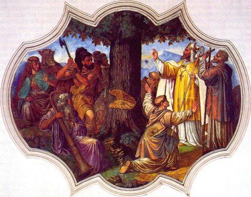 St. Boniface cutting down Thor's oak.