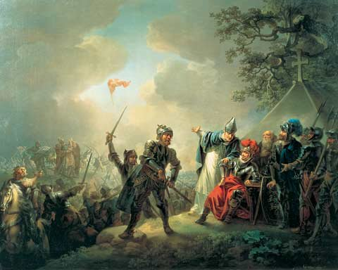Battle of Lyndanisse and Dannebrog falling from the sky. Painting by Christian August Lorentzen.