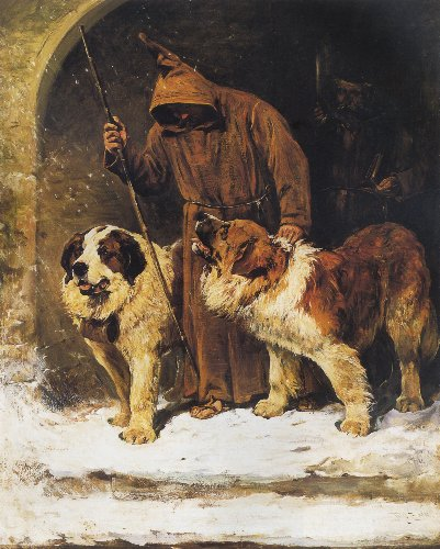 Painting by John Emms. Two St. Bernards, rescue dogs, with brandy barrels around their neck. According to legend, the brandy was used to warm the bodies of trapped people in avalanches or snow.