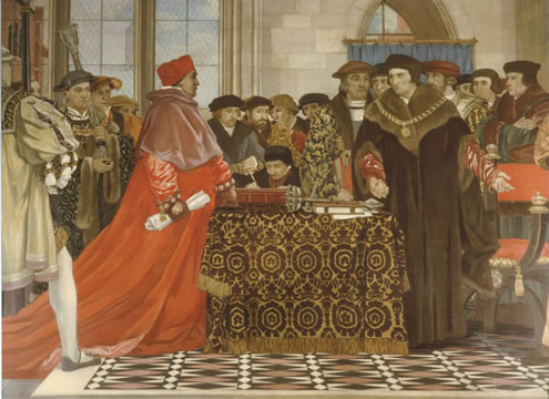 St. Thomas More Defending the Liberty of the House of Commons, painting by Vivian Forbes, 1927, St. Stephen's Hall, English Parliament, London.