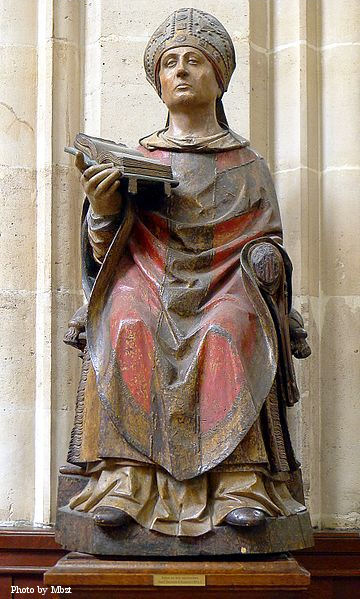 Statue of St. Germain at Saint-Germain l'Auxerrois Church in Paris.