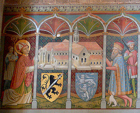 First part of mural: Bishop Otto of Bamberg carries with Count Rapoto of Abenberg, the first abbot of the monastery, a model of the Cathedral.