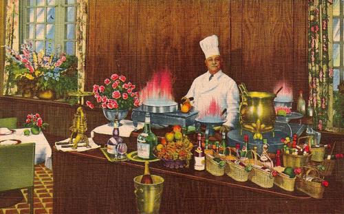 Chef Henri Charpentier preparing Crêpe Suzette