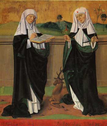 St. Catherine of Sweden (right) and her Mother, St. Bridget of Sweden(left). Painting from the Högsby church in Smalandia.
