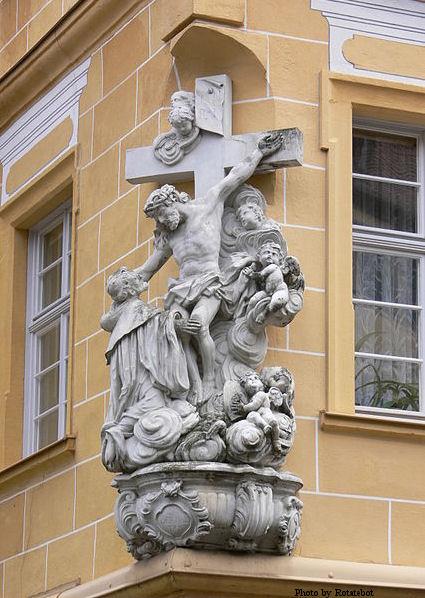 Statue of St. Bernard on a cornerbuilding in Bamberg, Germany.