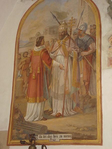Meeting of Pope Sixtus and St. Lawrence.