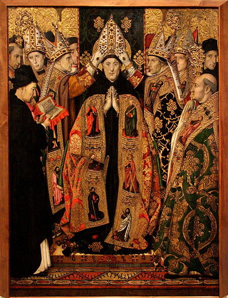 The Consecration of St Augustine, painted by Jaume Huguet