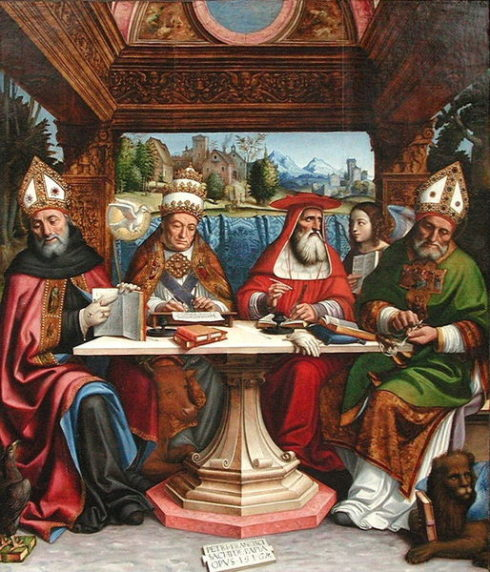 Four Doctors of the Church, LtoR: St. Augustine, St. Gregory the Great, St. Jerome, St. Ambrose