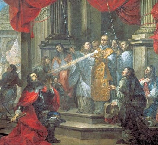 Conversion of Duke William of Aquitaine by St. Bernard of Clairvaux. Painting by Vicente Berdusán y Osorio