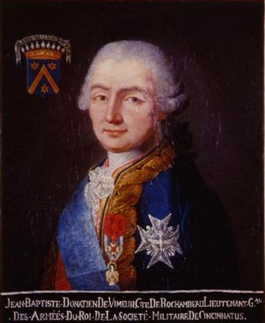 Marshal of France Jean-Baptiste Donatien de Vimeur, Comte de Rochambeau, pictured with the medal from the Society of the Cincinnati.