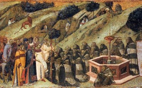 St. Albert Presents the Rule to the Carmelites, Painting by Pietro Lorenzetti