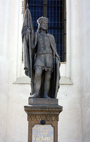 Saint Wenceslaus sculpture near the Church of the Exaltation of the Holy Cross in Poděbrady, Central Bohemia.