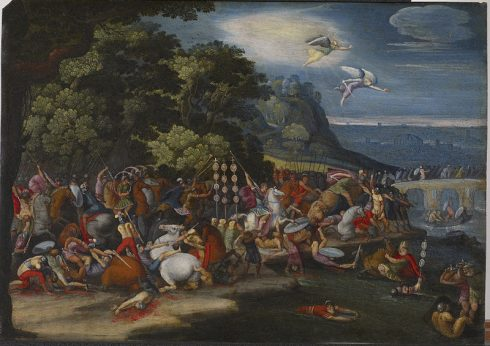 Painting of Constantine's victory at the battle at the Milvian Bridge over the Tiber River in 312.