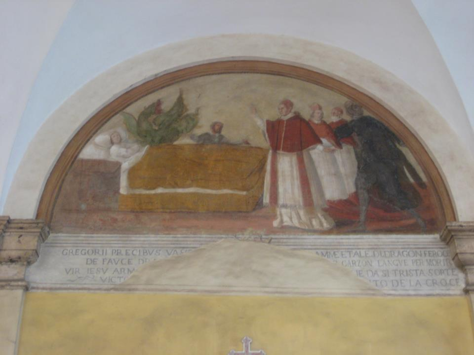 Exorcism by Pope St. Gregory, fresco attributed to il Pomarancio