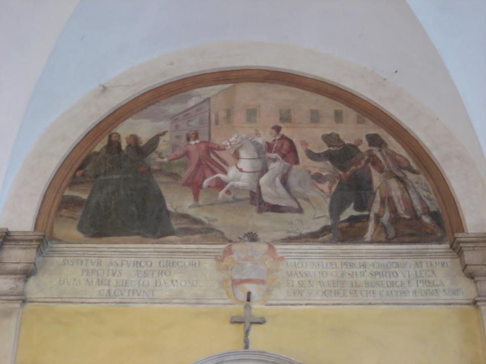 One of many frescos depicting the life of the saint adorning his former house on the Caelian Hill in Rome, which he converted into a monastery under the patronage of St. Andrew.