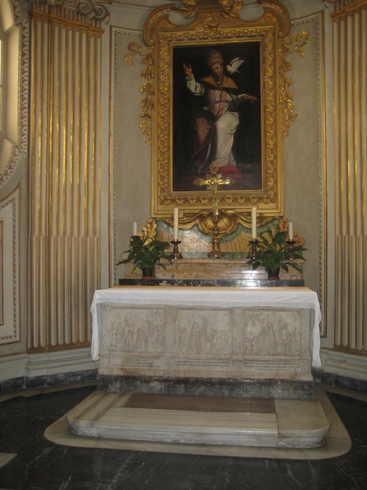 The altar of St. Gregory. The three panels on the altar base depict St. Gregory promoting masses for the souls of the dead.