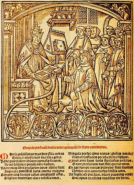Pope Boniface VIII receiving Jean Lemoine