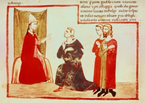 Pope Bonifacius VIII receiving Charles de Valois with a delegation from the Guelph faction.
