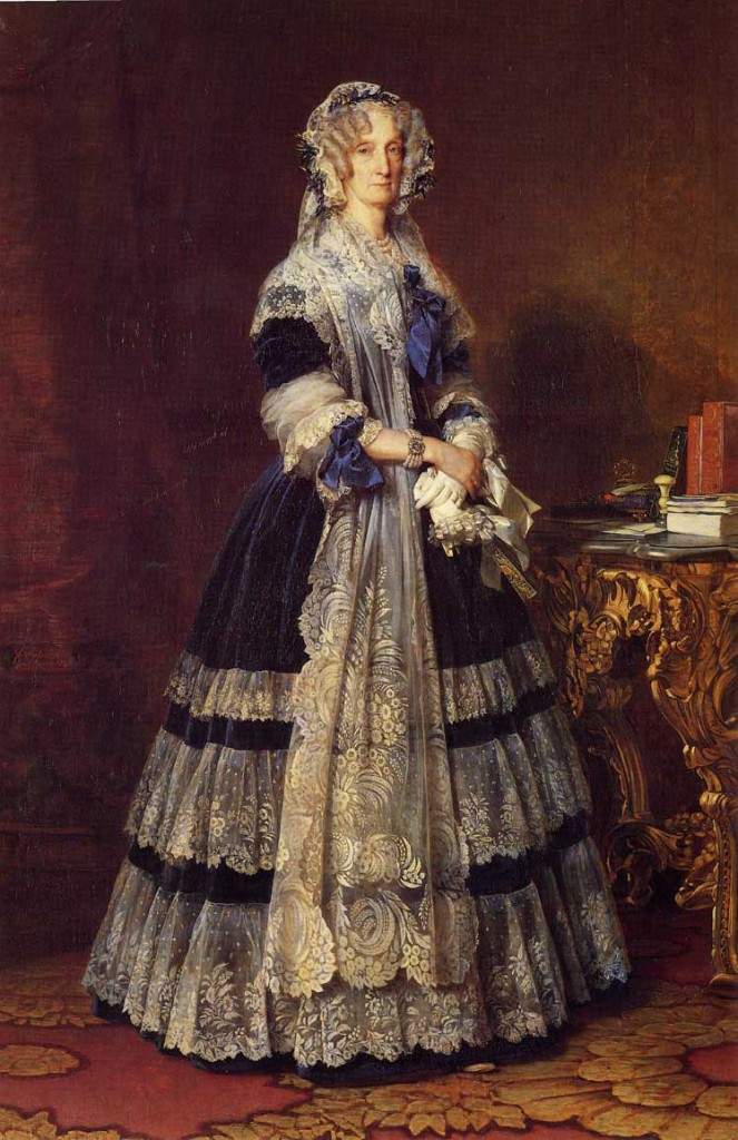 Portrait of Queen Marie Amelie of France, Painted by Franz Xaver Winterhalter. This painting hangs in the Museum at Saint-Mary-of-the-Woods, Indiana.