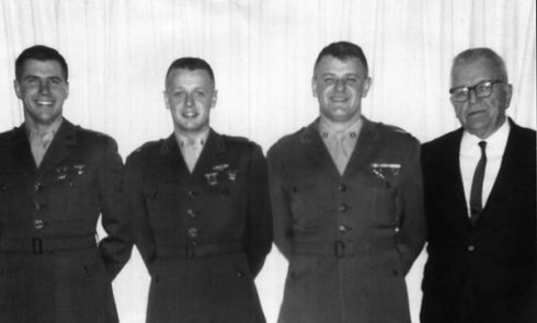 """Bud"" Ripley (r) and his three sons, (l to r) John, Michael and George."
