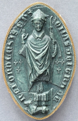 Seal of Bishop Thomas de Cantilupe. TOMAS DEI GRATIA HEREFORDENSIS EP(ISCOPU)S (Thomas by the grace of God Bishop of Hereford).