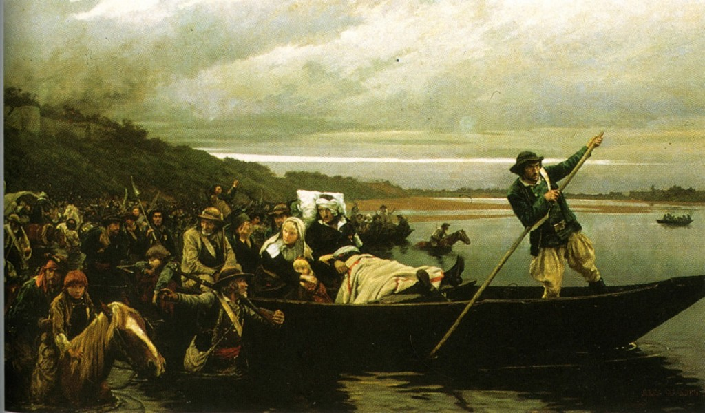 The dying Marquis de Lescure and the remnants of the the Vendéan army crossing the Loire to Saint-Florent