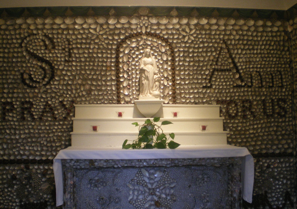 Interior of the Shell Chapel, decorated with the shells from the nearby Wabash River and the statue of St. Anne that Mother Théodore brought from France.
