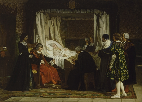 The death of Queen Isabella the Catholic. Painted by Eduardo Rosales