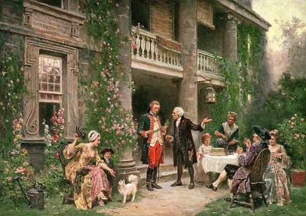George Washington At Bartram's Garden. Painting by Jean Leon Gerome Ferris