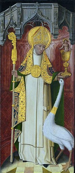 Altarpiece from the Carthusian monastery of Saint-Honoré, Thuison-les-Abbeville, France, depicting Saint Hugh of Lincoln with his swan.