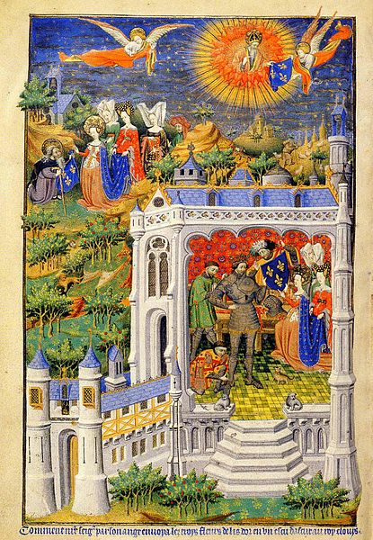 A page from the Bedford Book of Hours (c. 1423), illustrating the legend of King Clovis receiving the fleurs-de-lis.