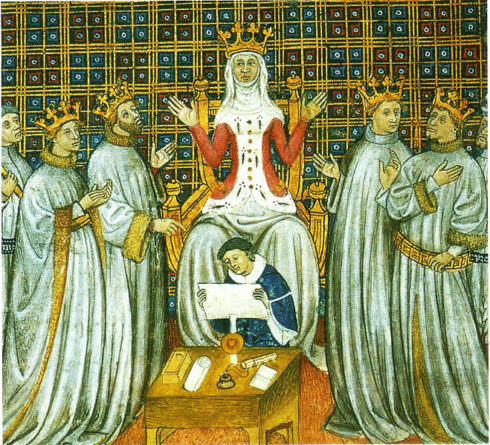 Clotilde dividing the Frankish Kingdom between her four sons.