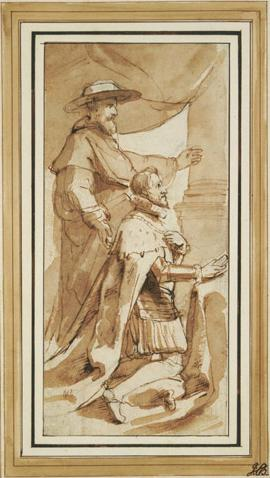 Archduke Albert kneeling next to his Patron Saint, St. Albert of Louvain by P.P. Rubens.