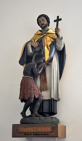 St. Francis Xavier baptising the Paravars in Goa, India.