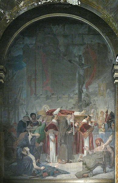 """Painting of """"Transposition of Saint Francis Xavier"""" in St Sulpice church. Painted by Jacques-Emile Lafon in 1859."""