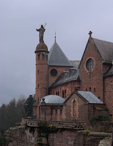 The Hohenburg Abbey lies on top of Mont Sainte-Odile, also called Ottilienberg mountain.