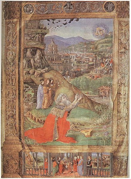 King David, kneeling, praying to God. Jerusalem is in the background along with scenes from his life at the bottom.