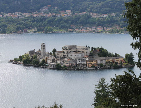 The isle of Orta San Giulio is a small town in Piemont on the shores of the Lago d'Orta, Italy.