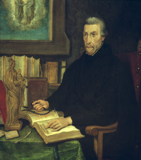 Portrait of St. Peter Canisius at his writing desk. - Netherlands, first half of 17th C.