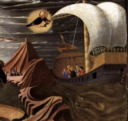 St Nicholas saves the ship and sailors from being lost at sea.