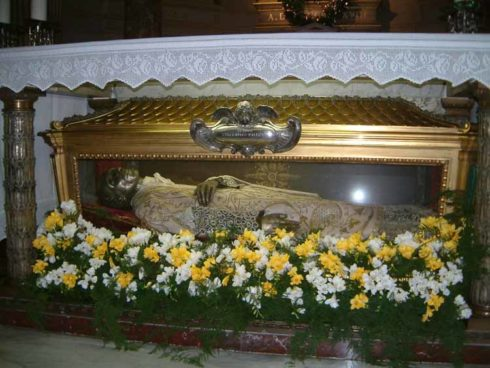 The Incorrupt body of St. Vincent in the Church of San Salvatore in Onda, Rome.