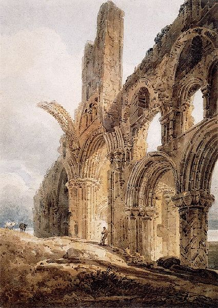 The ruins of Lindisfarne Priory, by Thomas Girtin, 1798
