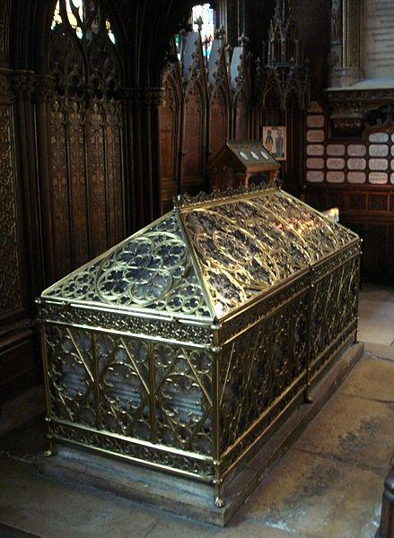 The tomb (shrine) of Saint Genevieve, Saint Patron of Paris, Church St Etienne du Mont, Paris.