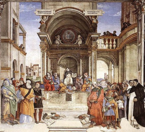 Triumph of St Thomas Aquinas over the Heretics by Filippino Lippi. In the fresco, St. Thomas Aquinas, center, is surrounded by four figures, representing Philosophy, Astronomy, Theology, and Grammar. At the sides, in the foreground, are the defeated heretics, among which can be identified Arius, Apollinarius, and Averroes (on the left) and Sabellius, Euchites, and Manes (on the right), with their books thrown down on the ground before them. This scene of St. Thomas confounding the heretics is inspired by his fourth book, the Summa contra Gentiles.