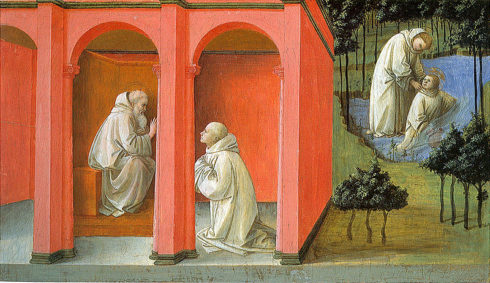 St. Benedict orders St. Maurus to rescue St. Placidius. Painting by Fra Filippo Lippi