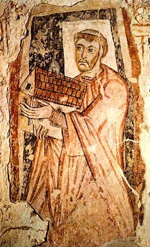 Image of St. Benedict Biscop carrying St. Peter's Basilica to Britain.