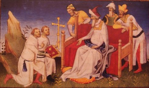The Polo brothers returning to Kubilai with presents from Pope Gregory X.