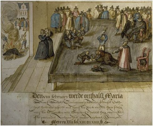 This 1613 watercolor in the National Portrait Gallery of Scotland, of the beheading of Mary, Queen of Scots, was made for a Dutch magistrate. The [watercolor] picture does reflect eye witness accounts of the event. Queen Mary was not beheaded with a single strike. The first blow missed her neck and struck the back of her head. The second blow severed the neck, except for a small bit of sinew, which the executioner cut through using the axe. All of her clothing, the block, and everything touched by her blood were burnt to prevent supporters keeping them as relics. This scene is shown on the far left.